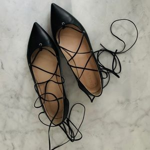 J Crew Pointed Ballet Lace Up Flat - Black - 6.5M